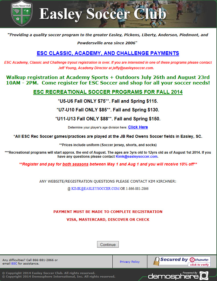 a219077e1 Easley Soccer Team Announces 2014 Fall Recreational Soccer Registration